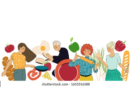 Cooking Background. Pattern with People who Cook. Vector illustration. Food Preparing Process. Kitchen Utensils.