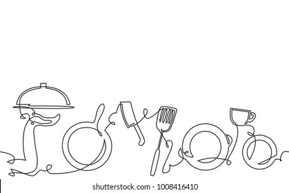 Cooking Background. Pattern with Utensils. Continuous Drawing. Vector illustration.