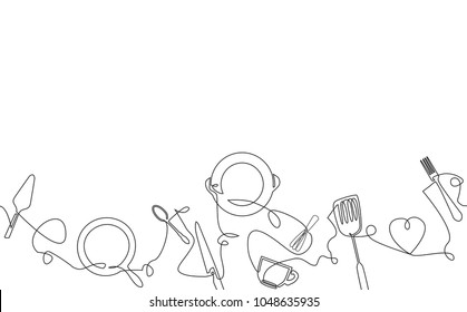 Cooking background. Pattern with utensils. Continuous drawing style.  Poster with cutlery. Vector illustration.