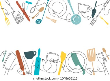 Cooking background. Pattern with utensils. Continuous drawing style. Poster with cutlery.Vector illustration.