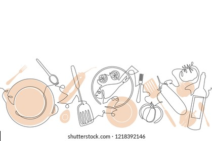 Cooking background. Pattern with utensils and food. Vector illustration.