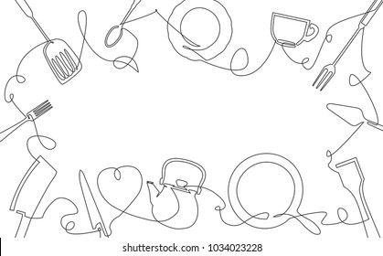 Cooking Background for your Design Works. One Line Drawing of Isolated Kitchen Utensils.  Vector illustration.