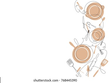 Cooking Background for your design works. Pattern with Cutlery. One Line Drawing of Isolated Kitchen Utensils. Cooking  Poster. Vector illustration.