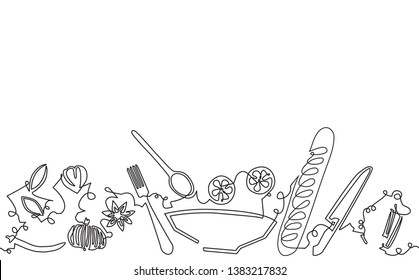 Cooking backgroung. Pattern with utensils and food. Vector illustration.