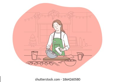 Cooking, baking, recipe concept. Young smiling woman cartoon character in apron standing and mixing ingredients for baking in kitchen. Gourmet food, homemade cake, healthy diet vector illustration