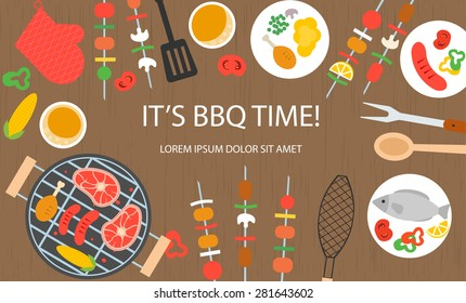 Cooking banner with grill top view, barbecue and grilled food set - steak, sausage, chicken, fish, vegetables, kitchenware, utensils, vector illustration