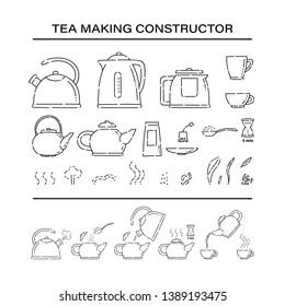 Cooking brew tea procedure constructor set icons. How to make hot drink teapot and boil in the kettle water vector line art sketch black white isolated illustration.