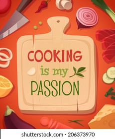 Cooking card \ poster design. Vector illustration