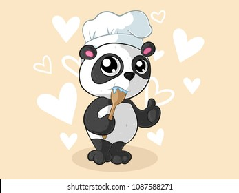 Cooking cartoon panda with chef's hat