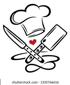 Cooking Chef Hat Cook Knife Infinity Love. Chef hat with knife, chopper, heart and infinity symbol.