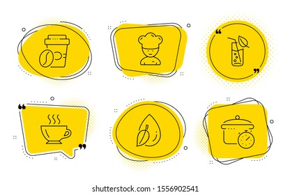 Cooking chef, Water drop and Boiling pan signs. Chat bubbles. Takeaway coffee, Coffee and Water glass line icons set. Roasted bean, Cappuccino, Soda drink. Sous-chef. Food and drink set. Vector