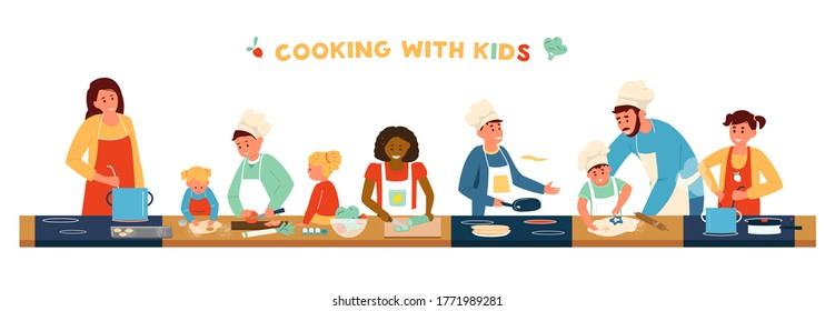Cooking With Children Horizontal Banner. Different age and race children In Aprons And Chef Hat Cooking With Adults. Making soup, Pancakes, Salad, Baking. Kids Cooking Class. Flat Vector Illustration.
