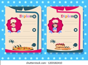 Cooking class diploma. Young girl and boy cook kid with apron, kitchen class vector certificate templates. Illustration of cooking certificate class, girl and boy education diploma