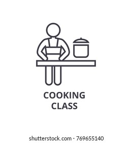 cooking class line icon, outline sign, linear symbol, vector, flat illustration