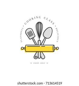 cooking class linear design element kitchen emblem symbol icon or food studio label - Kitchen Logo