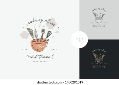 Cooking class linear design elements, set of kitchen emblems, symbols, icons or food studio labels and badges collection. Cooking courses signs template or logo, identity, culinary school