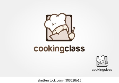 Cooking class logo design. it's a simple logo character.