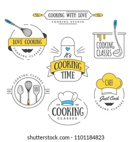 Cooking class Vintage design elements, Kitchen emblems, symbols, icons, food studio labels, badges collection. Business signs template, logo, identity, culinary school labels, badges and objects.