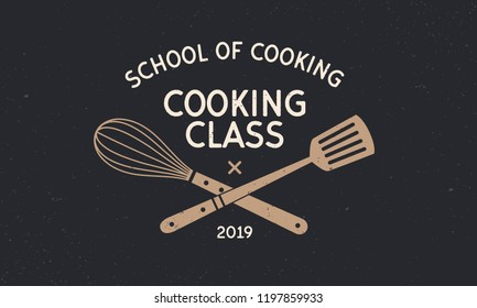 Cooking class vintage logo with grunge texture. School of Cooking template emblem. Vintage design poster. Label, badge, poster for food studio, cooking courses, culinary school. Vector illustration