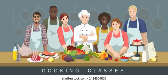Cooking classes concept. Chef and African American, European and Indian adult men and women students. Lots of variety of products in the foreground. Cook training courses. Vector illustration.