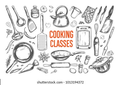 Cooking classes and Kitchen utensil set. Vector hand drawn isolated objects. Icons in sketch style