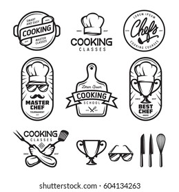 Cooking classes labels badges emblems logos set. Design elements for prints, posters, wall decor. Vector vintage illustration.