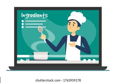 Cooking classes online vector isolated. Improve culinary skills, learning in the internet. Man chef cooking food