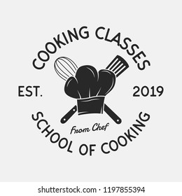 Cooking Classes vintage logo. Chef's hat ,Whisk and Spatula icons. Culinary School, Cooking courses, Food studio emblem template. Vector illustration