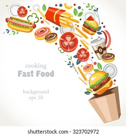 cooking collection background fast food