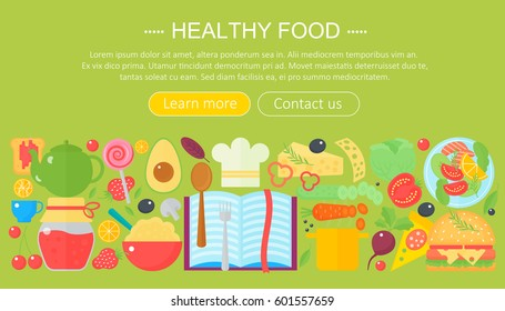 Cooking Collection Healthy Food Infographics Template Design Web Header Elements Poster Banner
