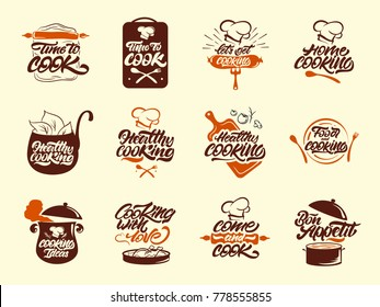 Cooking colour logos set. Healthy. Bon appetit. Cook, chef, kitchen utensils icon or logo. Handwritten lettering vector illustration.