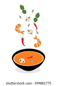 Cooking Concept Illustration from Thailand A national dish And is unique in Southeast Asia. Tom-Yum-Koong , Vector thai food, Seafood ingredients spicy.