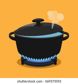 cooking concept. In a pan cooked meal. flat vector illustration isolate on a colored background