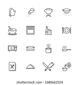 Cooking, Cook Food, Kitchen outline icons set - Black symbol on white background. Cooking, Cook Food Simple Illustration Symbol - lined simplicity Sign. Flat Vector thin line Icon - editable stroke