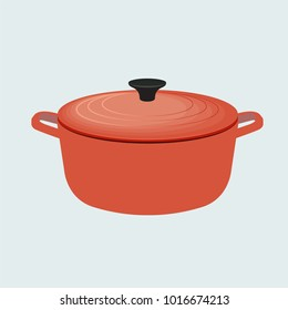 Cooking, cook, pot, boiler, boiling, utensil, kettle, kitchen equipment vector illustration flat style object symbol