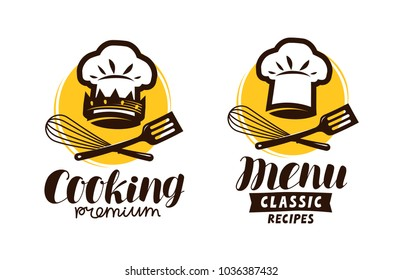 Cooking, cuisine logo. Label for restaurant or cafe menu. Vector illustration