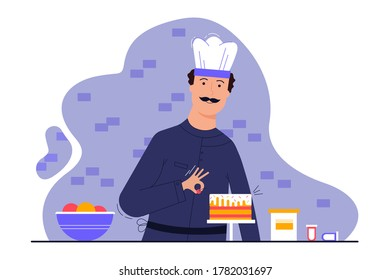Cooking, decoration, profession, creativity, work concept. Young man guy cooker confectioner preparing decorating cake in restaurant kitchen. Creative occupation or making delicious tasty sweet pastry