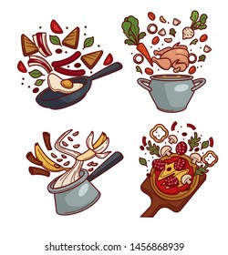 Cooking dishes fried eggs and chicken broth oatmeal and pizza ingredients isolated meals vector, bacon and vegetables banana and salami sausages and poultry cinnamon and mushrooms frying pan and sauce