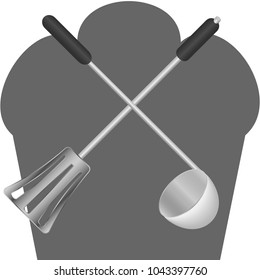 cooking equipment - kitchen spatula,  big spoon and chef's cap