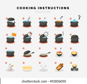 Cooking flat icons for Infographic or manual