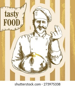 cooking and food concept Illustration of a gourmet chef which holding silver platter and giving an tasty sign