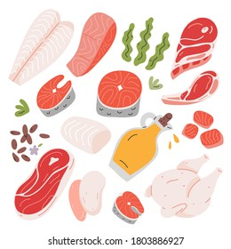 Cooking food ingredients, beef and lamb meat, salmon and white fish fillet ans steak, hand drawn vector illustration, isolated icons, flax seeds and vegetable oil