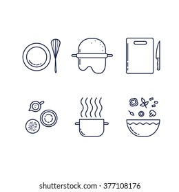 Cooking food and kitchen line icons set.