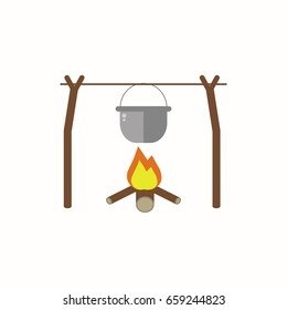 Cooking food in nature in flat design. Boiler hanging on a branch over a fire isolated on white background.