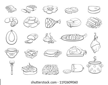 Cooking Foods and Kitchen outline icons set. Vector Illustration.