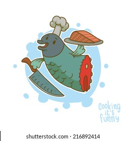 Cooking it is funny, Fish, vector