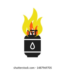 Cooking gas cylinder is on fire. Cooking gas safety concept.