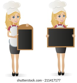Cooking Girl Holding Board