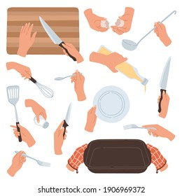Cooking hands. Female hands holding kitchen accessories, utensils and tableware, food preparation cutting and baking, interaction with dishes, knives and spoons. Cartoon flat vector isolated set