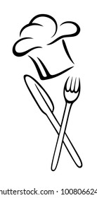 Cooking hat with fork and knife.